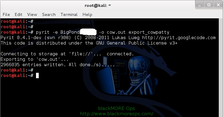 12-pyrit-export-to-cowpatty-Cracking-Wifi-WPAWPA2-passwords-using-pyrit-and-cowpatty-blackMORE-Ops