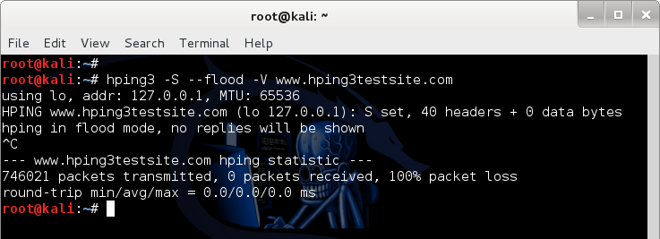 Simple SYN flood using HPING3 - DOS using hping3 - darkMORE Ops -1