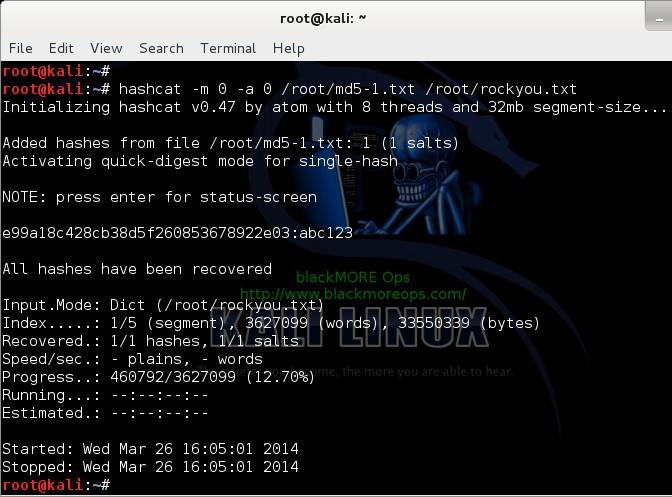 Cracking MD5, phpBB, MySQL and SHA1 passwords with Hashcat