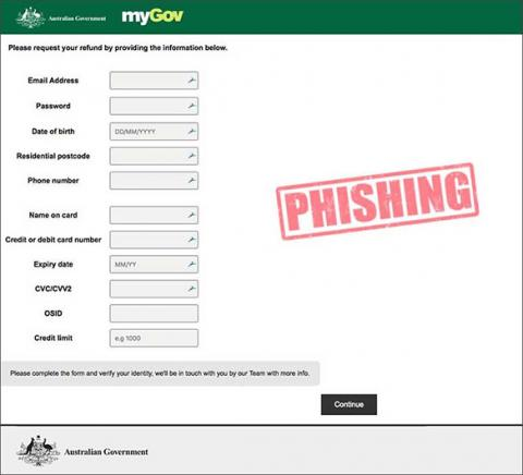 Screenshot of the fake tax refund claim form