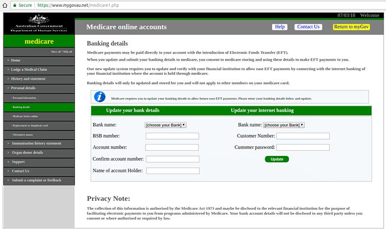 Screenshot of the fake Medicare website