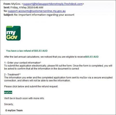 Screenshot of myGov phishing scam designed to steal your personal and financial information