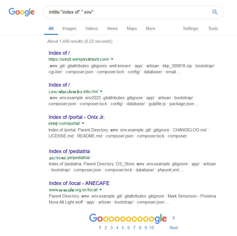 node.js .env Google search
