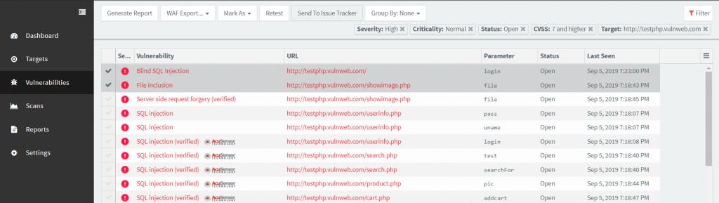 Acunetix Push Vulnerabilities