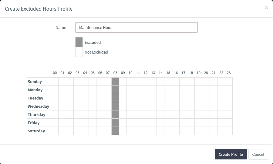 Creating an excluded hours profile
