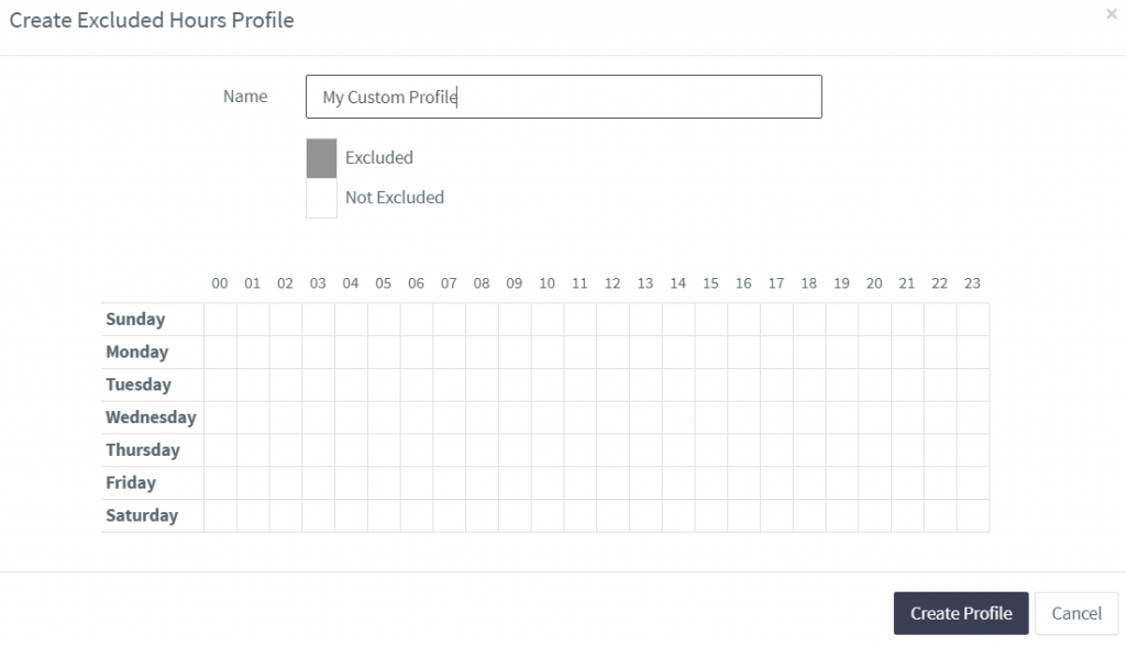 Creating a new excluded hours profile