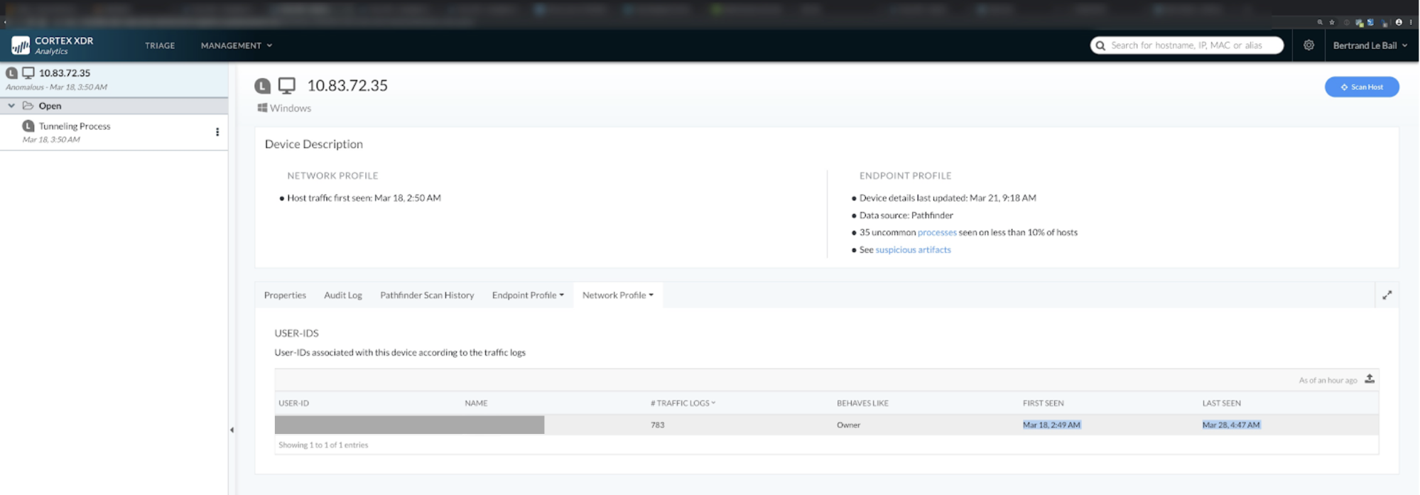 This screenshot shows Cortex XDR by Palo Alto Networks